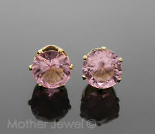 GORGEOUS LARGE 8MM LIGHT PINK CZ YELLOW GOLD PLATED ROUND EARRINGS STUDS