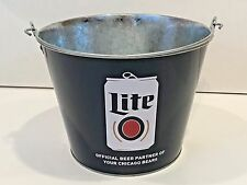 Collectible Miller Lite Beer Chicago Bears 5QT Logo Metal Ice Bucket Cooler New