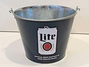 Collectible Miller Lite Beer Chicago Bears 5QT Logo Metal Ice Bucket Cooler New