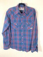 Vintage Wrangler Wrancher Western Wear Mens Striped Pearl Snap Shirt - Size L