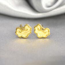 Solid 24K Yellow Gold Stud Earrings Cloud-Shape Lucky Stud Earrings
