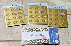 Stationery lot Thank you notes & gold wedding ring seals stickers anniversary
