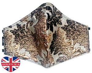 Luxury Face Cover Gold Brocade Triple Layer Nose Wire Reusable Handmade UK
