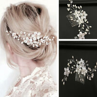 Women bridal white flower rhinestone pearl hair comb wedding hair accessories JC