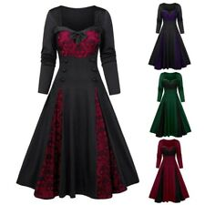 Women Halloween Skull Lace Insert Mock Patchwork Button Bowknot Dress Plus Size