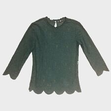 Zara Dark Green Sheer Scallop Lace Top M - B37