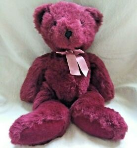 """Russ Berrie Rhapsody Bears From the Past Burgundy Red Plush Animal Pink Bow 13"""""""