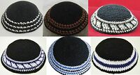 LOT 6 Black Yarmulke Jewish Kippah Judaica Yamaka Kippa Set Colorful 15-18cm