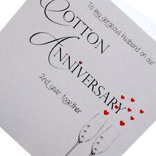 2nd Cotton Wedding Anniversary Card Husband Luxury Handmade 148mm x 148mm sq