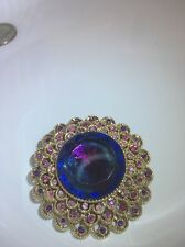 Vintage COROCRAFT Brooch Pin Blues Purples Pinks Watermelon Tiered Colors