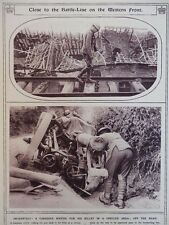 1917 CANADIAN ON CURIOUSLY SUSPENDED RAIL TRACK; UPSET CANADIAN GUN WWI WW1