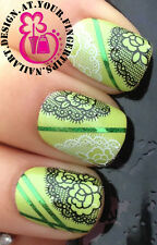 NAIL ART DECORATION WRAP WATER TRANSFERS DECALS BLACK WHITE FLOWER MESH LACE #75