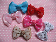 30 Cute Satin/Chiffon Dots Bow Appliques-6 Colors R022-1