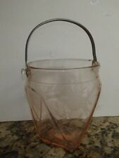 VTG Art Deco 1930's PINK DEPRESSION GLASS ICE BUCKET Etched Line Flowers 6 Sides