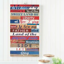 "Way To Celebrate July 4th Decor, ""My Country 'Tis of Thee"" flag interior decor"