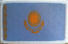 Kazakhstan Flag Patch With VELCRO® Brand Fastener Military White Border