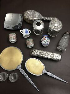Joblot Sterling Silver Antique Jars Brushes Sugar Shaker Guilloche Mirror Etc