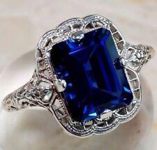 3.5CT Princess Cut Blue Sapphire Women 925 Silver Wedding Vintage Ring Size10