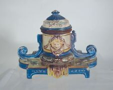 Antique Soft Paste Majolica Maiolica type Faience Inkwell Porcelain Pottery