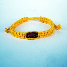 Blessed Buddhist Bracelet Amulet Wood Takrut Thai WRISTBANDS GOOD LUCK # Yellow