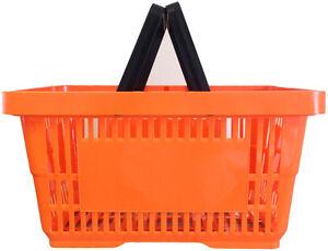 2 Handle Orange Plastic Shopping Basket Retail Supermarket Use Hand Carry