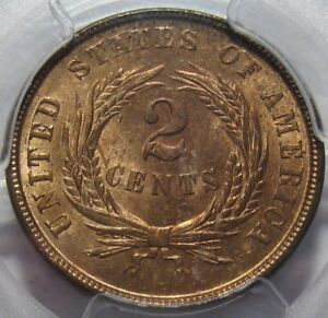 = 1864 PCGS MS64 RB Two Cent Piece, Super Color & EYE Appeal, FREE Shipping