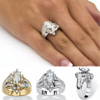 Women Gold Silver Plated Rings Simulated Zircon Ring Wedding Gift Rings Hot Sale