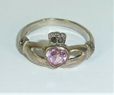 Vintage Sterling Silver  Celtic Claddagh Pink Stone Ring Size 5 Wt 2.0 grams