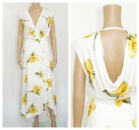 ex Warehouse Daffodil Print Cowl Back Button Through Frill Wrap Summer Dress
