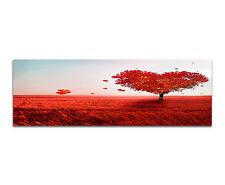 150x50cm - Tree Of Love Baum Herz Rot Panorama Wandbild Leinwand Keilrahmen