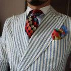 Men Seersucker Leisure Sport Suits Double-breasted Wedding Groom Suit Peak Lapel