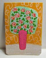 ACEO Original Miniature Painting, FOLK ART ROSE FLOWERS, 3.5x2.5 inch