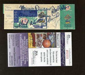 1996 New York Yankees World Series Ticket Stub Autographed 6 Signatures JSA Cert