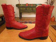 Vtg JUSTIN Women's Red Western Cowboy Boots 6B Style   #L3055  USA  Perfect!