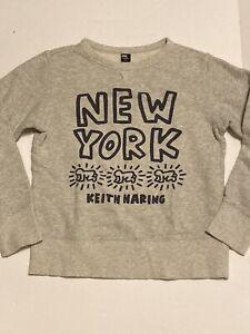 UNIQLO SPRZ NY •Kids 11• Boys Girls Keith Haring NYC Graphic Sweatshirt GRAY