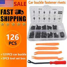 121pcs Car Plastic Rivets Fastener Fender Bumper Push Pin Clips + Remover Tools