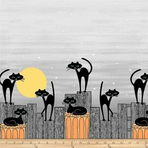 Michael Miller Stray Cat Strut Halloween Double Border Print fabric per 0.5m
