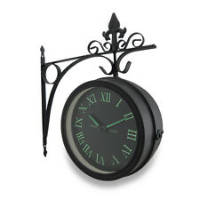 Double Sided Glow in the Dark Wall Clock w/Decorative Hanging Bracket