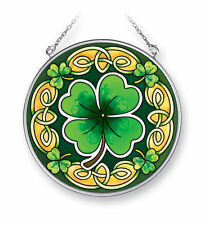 "AMIA STAINED GLASS SUNCATCHER 4.5"" ROUND CELTIC LEAVES IRISH CLOVER   #41401"