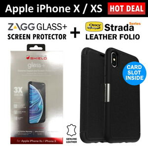 Zagg Glass Screen Protector + Otterbox Strada Wallet Case Cover for iPhone X XS