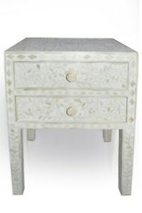 Abacus & Hunt Bone Inlay Bedside Table in White Floral Pattern