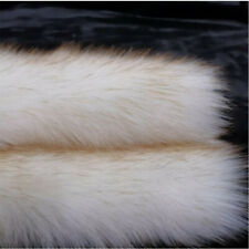 Faux Fox Plush Fur White Dyed Fabric Coffee Tip Fake Artificial Clothing Sewing