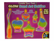 GLOW SAND ART BOTTLES GLOW IN THE DARK SAND CRAFT SET KIT BAGS FUNNEL DESIGN