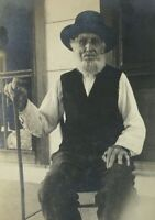c 1910s Grandpa Sitting on Porch w Cane Real Photo Postcard RPPC Unposted