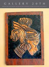 SHWAY! HAGENAUER ERA HAMMERED COPPER NUBIAN GIRL WALL ART! MID CENTURY ROSEWOOD