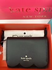 KATE SPADE PIPER MAGNOLIA STREET LEATHER PURSE KEY CHAIN RING WALLET - BLACK