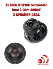 "(2) Massive Audio GTX102 2800 W Max 10"" Dual Voice Coil 2Ohm Car Audio Subwoofer"