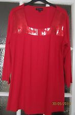 Glitzy red long top tunic blouse - size S/M