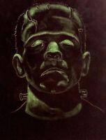 FRANKENSTEIN Boris Karloff Original  Painting on Black Velvet Universal Monster