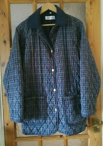 """Womens COMPLIMENTS Blue Check Quilted County Casual Jacket Size:M - 44"""" Chest"""